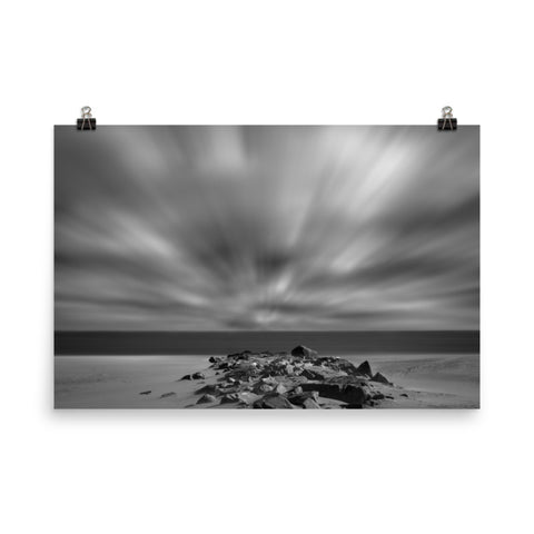 Windy Beach Black and White Landscape Photo Loose Wall Art Prints