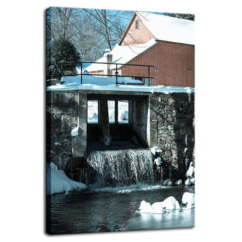 Winter Mill Rural Landscape Photograph Fine Art Canvas Wall Art Prints