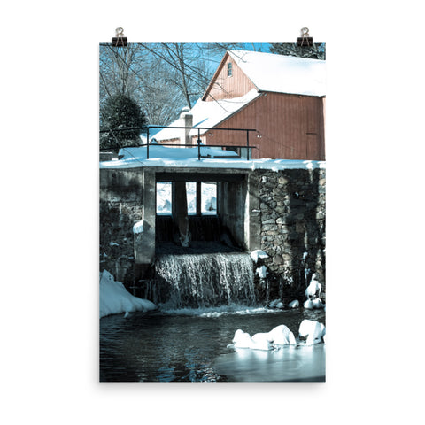Winter Mill Landscape Photo Loose Wall Art Print