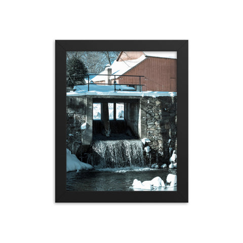 Winter Mill Rural Landscape Framed Photo Paper Wall Art Prints