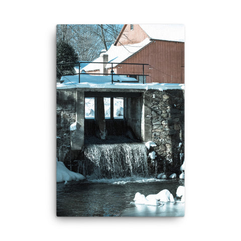 Winter Mill Rural Landscape Canvas Wall Art Prints