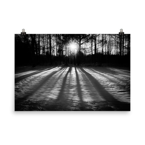 Winter Shadows Black and White Landscape Photo Loose Wall Art Prints