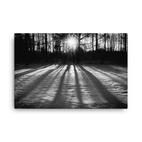 Winter Shadows Black and White Rural Landscape Canvas Wall Art Prints