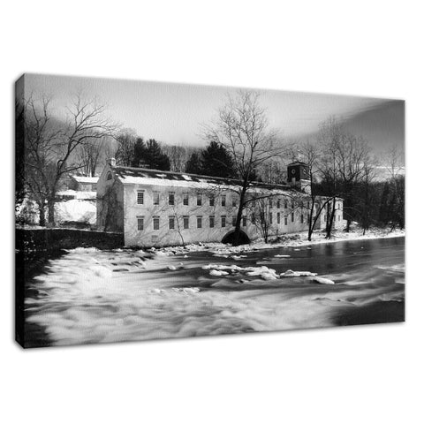 Winter at Powder Mill Rural Landscape Fine Art Canvas Wall Art Prints