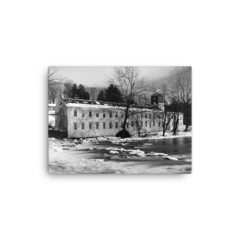 Winter at Powder Mill Black and White Rural Landscape Canvas Wall Art Prints