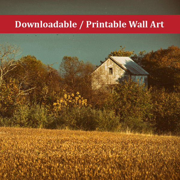 Abandoned Barn Colorized Landscape Photo DIY Wall Decor Instant Download Print - Printable