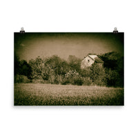 Abandoned Barn In The Trees Vintage Loose Wall Art Prints Rural Landscape Scene