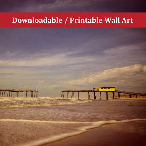 Aged View of Frisco Pier Landscape Photo DIY Wall Decor Instant Download Print - Printable