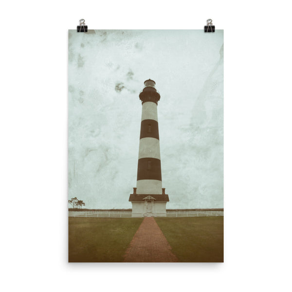 Aged Colorized Bodie Island Lighthouse Landscape Photo Loose Wall Art Print - Unframed