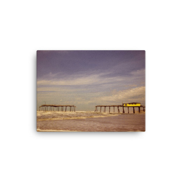Aged View of the Frisco Pier Coastal Landscape Scene Canvas Wall Art Prints