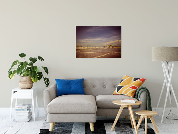 "Aged View of Frisco Pier Coastal Landscape Fine Art Canvas Wall Art Prints 24"" x 36"" - PIPAFINEART"