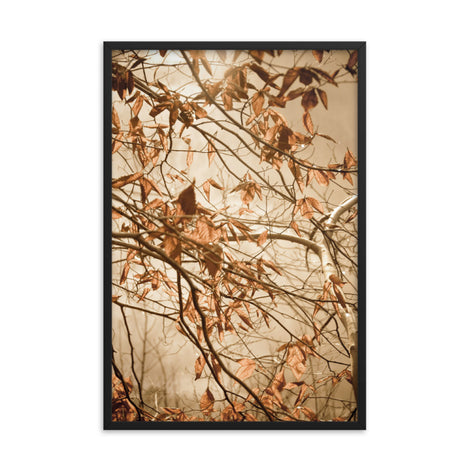 Aged Winter Leaves Botanical Nature Photo Framed Wall Art Print