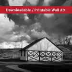 Aging Barn in the Morning Sun Black and White Rural / Farmhouse Style Landscape Scene Photo DIY Wall Decor Instant Download Print - Printable