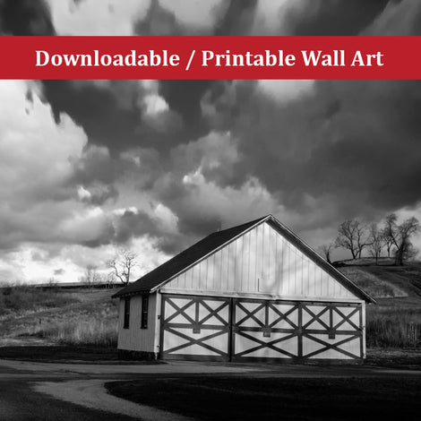 Aging Barn in the Morning Sun Black and White Landscape Photo DIY Wall Decor Instant Download Print - Printable