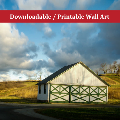 Aging Barn in the Morning Sun Color Landscape Photo DIY Wall Decor Instant Download Print - Printable