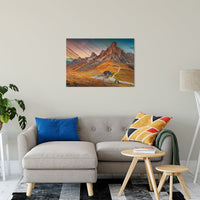 "Faux Wood Majestic Sunset & Alpine Mountain Landscape Fine Art Canvas Wall Art Prints 24"" x 36"" / Canvas Fine Art - PIPAFINEART"