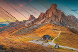 Faux Wood Majestic Sunset & Alpine Mountain Landscape Fine Art Canvas Wall Art Prints  - PIPAFINEART