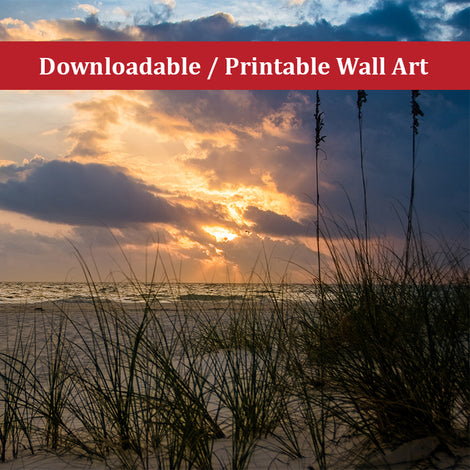 Anna Maria Island Cloudy Beach Sunset 2 Landscape Photo DIY Wall Decor Instant Download Print - Printable