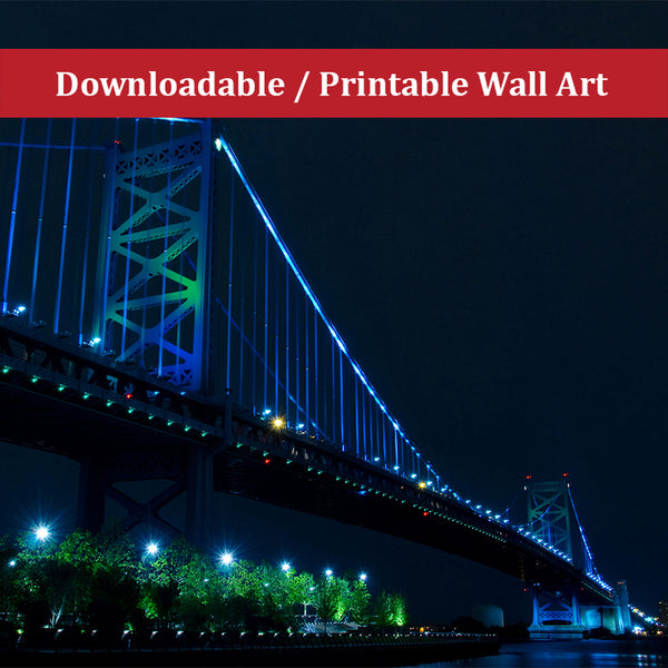 Ben Franklin Bridge Urban Night Landscape Scene Photo DIY Wall Decor Instant Download Print - Printable