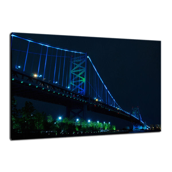 Ben Franklin Bridge Night Photo Fine Art Canvas & Unframed Wall Art Prints - PIPAFINEART