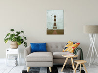 "24"" x 36"" Aged Bodie Lighthouse Glass Plate Effect Coastal Landscape Photo Fine Art Canvas Wall Art Prints"