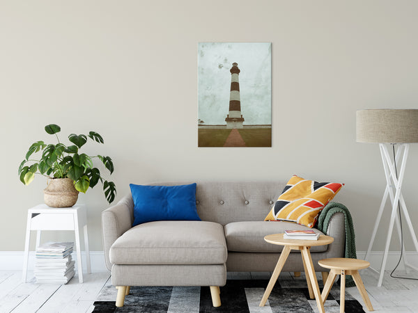 "Aged Bodie Lighthouse Glass Plate Effect Coastal Landscape Photo Fine Art Canvas Wall Art Prints 24"" x 36"" - PIPAFINEART"