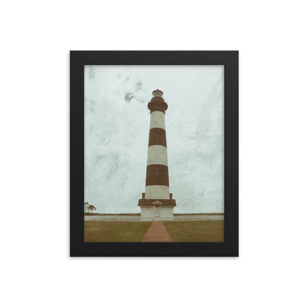 Aged Bodie Lighthouse Glass Plate Effect Coastal Landscape Framed Photo Paper Wall Art Prints