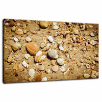 Broken Seashells and Sand Coastal Nature Photo Fine Art Canvas Wall Art Prints  - PIPAFINEART