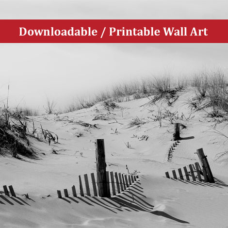 Buried Fences Landscape Photo DIY Wall Decor Instant Download Print - Printable