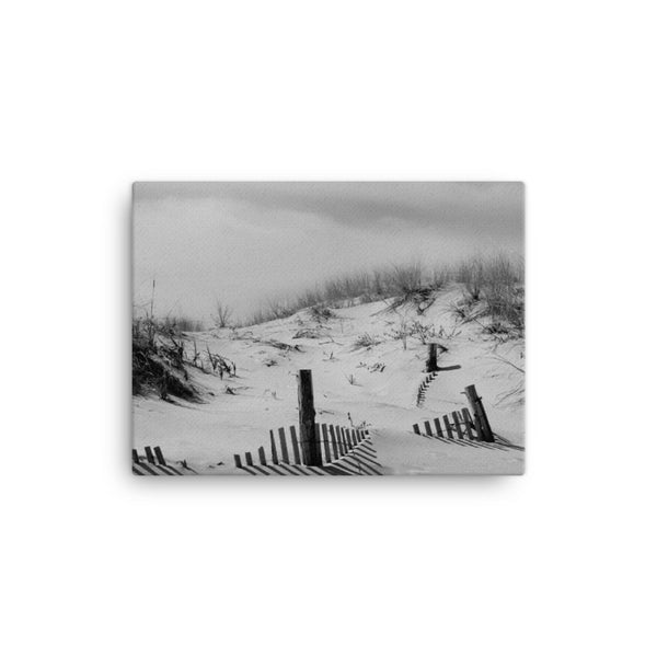 Buried Fences Black and White Coastal Landscape Canvas Wall Art Prints