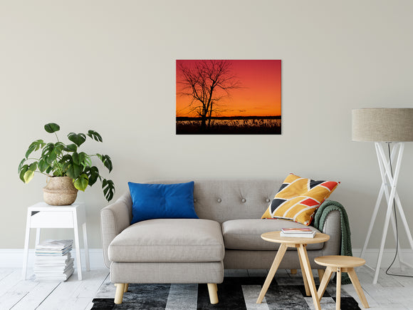 Nature Landscape Photography - Burning Skies, Hazy Summer Sunset - Fine Art Canvas - Home Decor Unframed Wall Art Prints