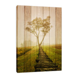Faux Wood Calming Morning Fine Art Canvas Wall Art Prints - Rural / Farmhouse / Country Style Landscape Scene
