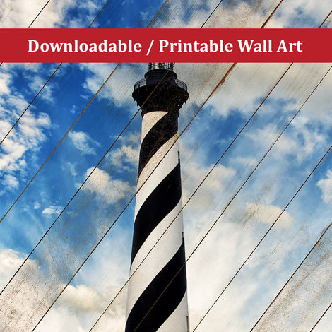 Cape Hatteras Lighthouse Faux Wood Panels Landscape Photo DIY Wall Decor Instant Download Print - Printable
