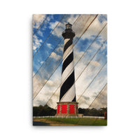 Cape Hatteras Lighthouse Landscape Photo Faux Wood Panels Canvas Wall Art Prints Coastal / Beach / Shore / Seascape Landscape Scene