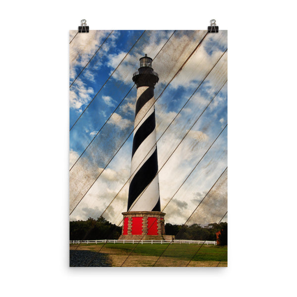 Cape Hatteras Lighthouse Landscape Photo Faux Wood Panels Loose Wall Art Print Coastal / Beach / Shore / Seascape Landscape Scene