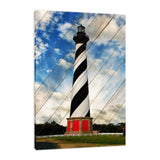 Cape Hatteras Lighthouse Landscape Photo Faux Wood Panels Fine Art Canvas Wall Art Prints Coastal / Beach / Shore / Seascape Landscape Scene
