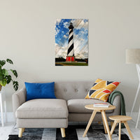 "24"" x 36"" Cape Hatteras Lighthouse Landscape Photo Faux Wood Panels Fine Art Canvas Wall Art Prints Coastal / Beach / Shore / Seascape Landscape Scene"