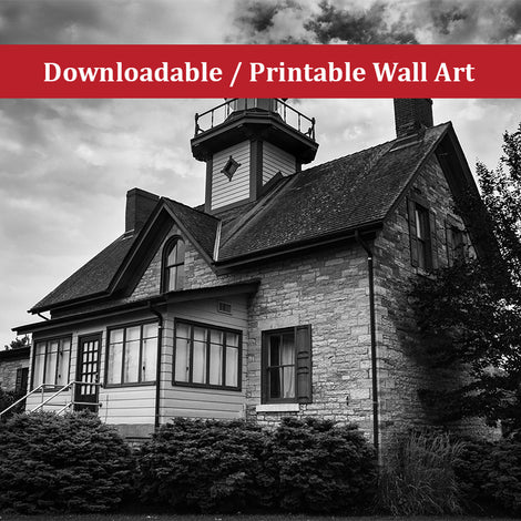 Cedar Point Lighthouse in Black and White Landscape Photo DIY Wall Decor Instant Download Print - Printable