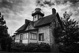 Cedar Point Lighthouse in Black & White Landscape Fine Art Canvas Wall Art Prints - Coastal / Beach / Shore / Seascape Landscape Scene