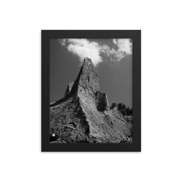 Chimney Bluff Black and White Landscape Framed Photo Paper Wall Art Prints  - PIPAFINEART