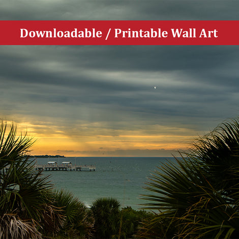 Cloudy Rainy Sunset Desoto Beach Landscape Photo DIY Wall Decor Instant Download Print - Printable