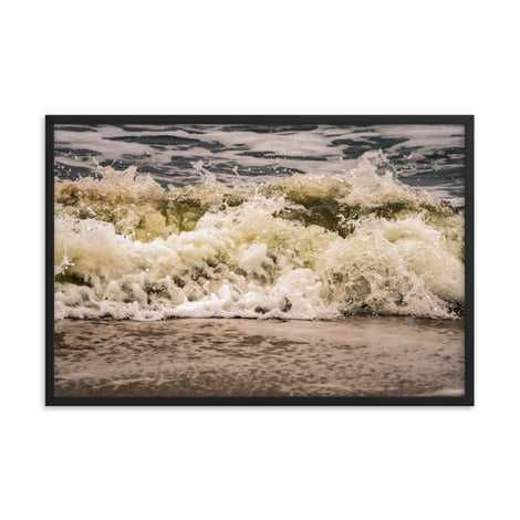 Crashing Ashore Coastal Nature Photo Framed Wall Art Print