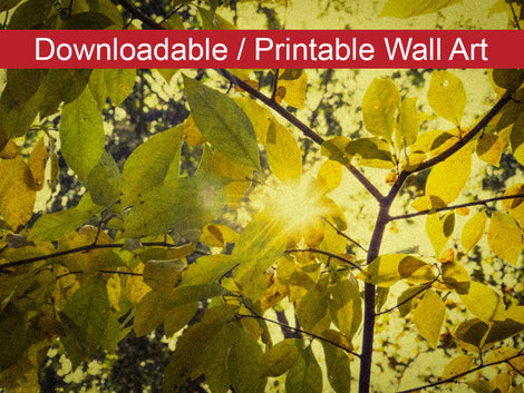 Aged Golden Leaves Botanical Nature Photo DIY Wall Decor Instant Download Print - Printable