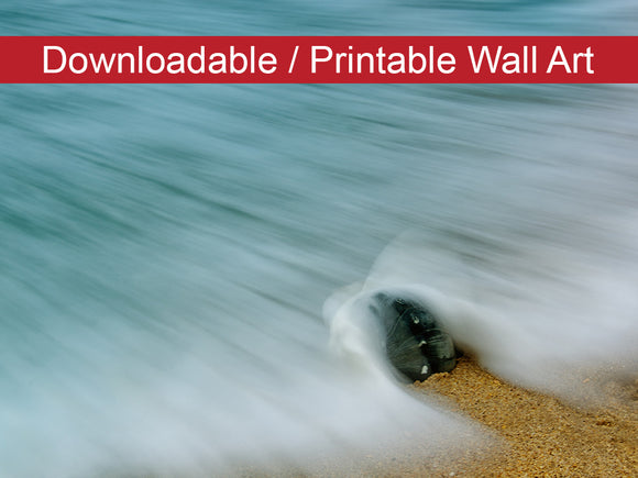 Digital Wall Art, Downloadable Print, Coastal Nature Photo Whelk Seashell and Misty Wave Wall Decor Instant -DIY Printable