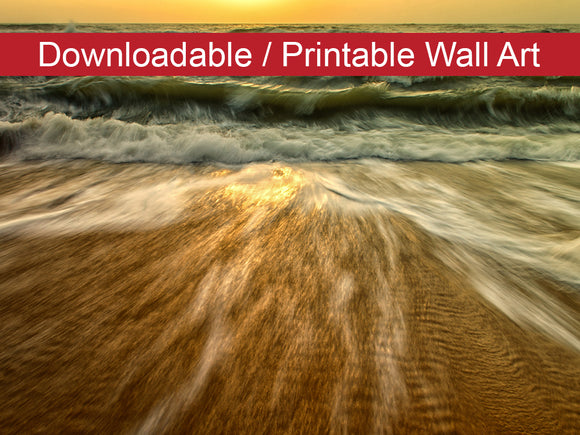 Digital Wall Art, Downloadable Print, Coastal Nature Photo Washing Out to Sea Wall Decor Instant -DIY Printable