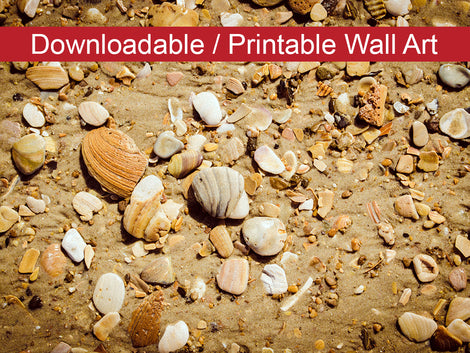 Broken Seashells & Sand Coastal Nature Photo DIY Wall Decor Instant Download Print - Printable