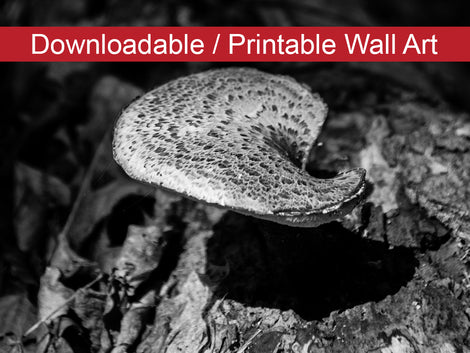Mushroom on Log Black and White DIY Wall Decor Instant Download Print - Printable