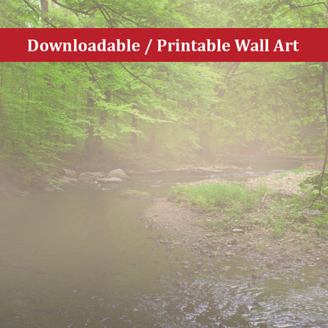 Early Morning Fog on the River Landscape Photo DIY Wall Decor Instant Download Print - Printable