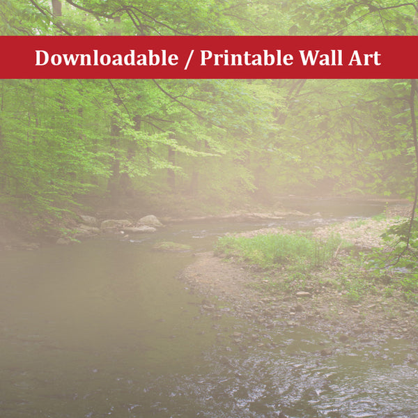 Early Morning Fog on the River Landscape Photo DIY Wall Decor Instant Download Print - Printable - Rural / Farmhouse / Country Style Landscape Scene
