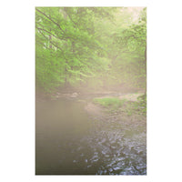 Early Morning Fog on the River Landscape Photo Fine Art Canvas Wall Art Prints - Rural / Farmhouse / Country Style Landscape Scene